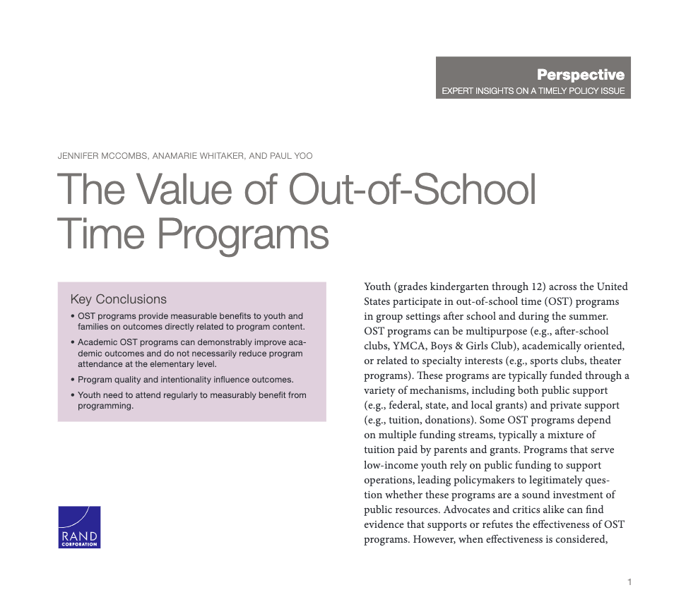 The Value of Out-of-School Time Programs